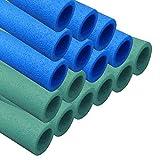 awm® Trampolin Schaumstoffpolster blau/grün, Schaumstoff Schaumstoffrohre Stangenschutz - Set (12x 840mm)