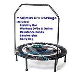 MaXimus PRO Faltbares Trampolin   Nr. 1 Indoor Minitrampolin mit Haltestange für Erwachsene  Bestes Fitnessstudio für zu Hause   KOSTENLOSER Aufbewahrungsbeutel, Spannbänder, ONLINE- & DVD- Workouts!