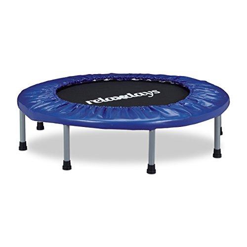 Relaxdays Trampolin faltbar, Indoor, blau-schwarz