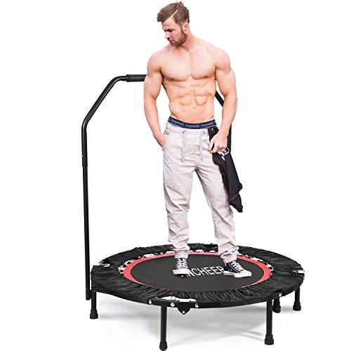 ANCHEER Fitness-Trampolin, Indoor/Outdoor, leise Gummiseilfederung, Höhenverstellbarer Haltegriff, Trampolin für Jumping Fitness, Nutzergewicht bis 100kg/135kg, Ø 40inch (40Zoll-Rot-Neigung 15°)