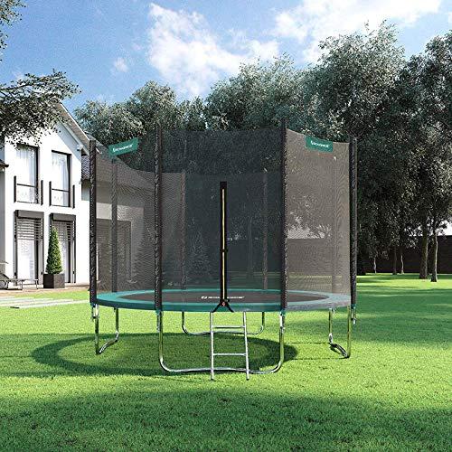 SONGMICS Trampolin Ø 305 cm, rundes Gartentrampolin mit Sicherheitsnetz, mit Leiter und gepolsterten Stangen, Sicherheitsabdeckung