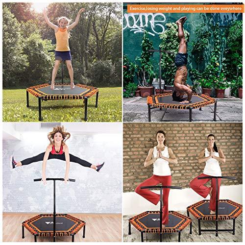 amzdeal Fitness Trampolin faltbar | Ø ca 124cm, Jumping Fitness Trampolin, Gummiseilfederung