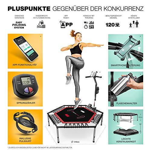 Messe-Neuheit 2021! Smart Fitness Trampolin, inkl. Pulsgurt, Trainings-Video, TÜV/GS, Sprungzähler & APP, klappbar, Haltegriff verstellbar, Handy- & Flaschenhalterung, HTX100 Indoor Jumping Workout